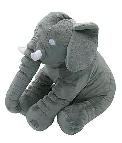 """ZOLLNER® weiches Babykissen / Schlafkissen / Kuschelkissen / Schmusekissen / Lendenkissen als Elefant, grau, ca. 1000 g/qm leicht, Größe ca. 60x30x45 cm, Serie """"Benny"""""""