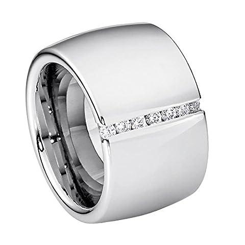 SteelArt by Heideman Damen-Ring Lines mit Swarovski-Steinen Edelstahl poliert 54