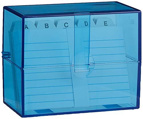 WEDO Boîte a fiches A7 a l'italienne, bleu transparent, equipe, en plastique, fermeture a cliquet, fixation au sol, livree avec un registre alphabetique en carton et 100 fichesbristols blancs, linies, pour env. 200 fiches dimensions: (L)118 x (P)63 x...