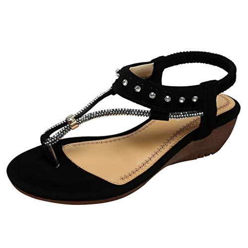 Damen Sandalen mit Perlenbesatz, elastisches Band, Bohemianischer Strand, Schwarz - Schwarz - Größe: 38 EU