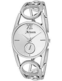 Arum Silver Round Dial Stainless Steel Strap Analog Watch For Women's And Girl's