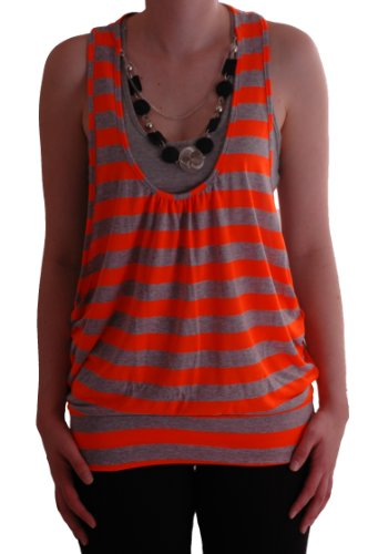 Eyecatch - Mya gestreift Neon Perlen Damen-Spitze Orange