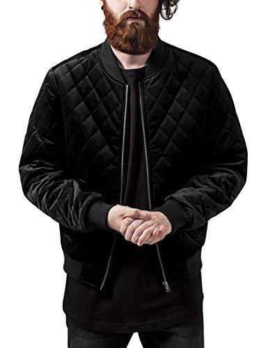 Urban Classics Herren Jacke Diamond Quilt Velvet Jacket, Schwarz (Black 7), Medium (Herstellergröße: M)