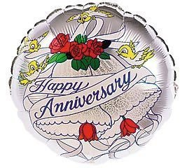 """Mylar Foil Balloon 18"""" Round Happy Anniversary Single Sided Silver Birds Roses by Betallic"""