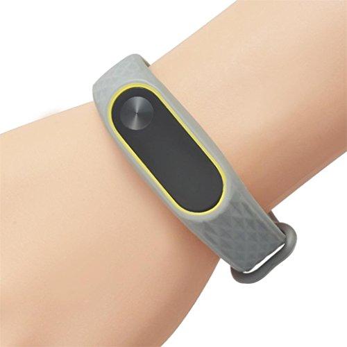 Upxiang Art und Weise ursprünglicher Silikon-Handgelenk-Bügel, Wiedereinbau WristBand Armband für XIAOMI MI Band 2 (D) (Werden & D-leder-satchel)