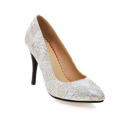 Stiletto Schuhe materialien Zehe Pumps Damen Auf Spitz Rein Silber Ziehen Blend Agoolar Schließen 1qBACnZ1w