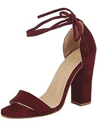 MEIbax CLEARANCE SALE Mode Damen High Heels Casual Offene spitze Partei Singel Schuhe Suede Round Heel Sandal...