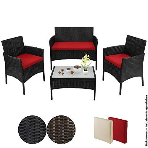 BB Sport 7-teilige Polyrattan Sitzgruppe für 4 Personen inkl. Sitzpolster und Tisch