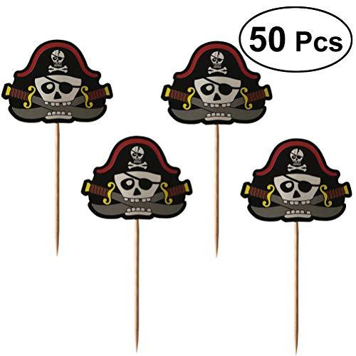 BESTOYARD Kuchen Topper Halloween Pirate Schädel Form Tortentopper Kuchendekoration 50 Stück (Schwarz)