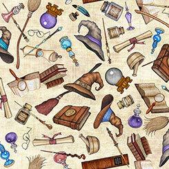 """Zauberer-Stoff – Zauberer-Motive """"Harry Potter"""" Halloween – QT79 – von Quilting Treasures – 100% Baumwolle (Wizard Motifs Cremefarben """"Harry Potter"""" Halloween QT79)"""