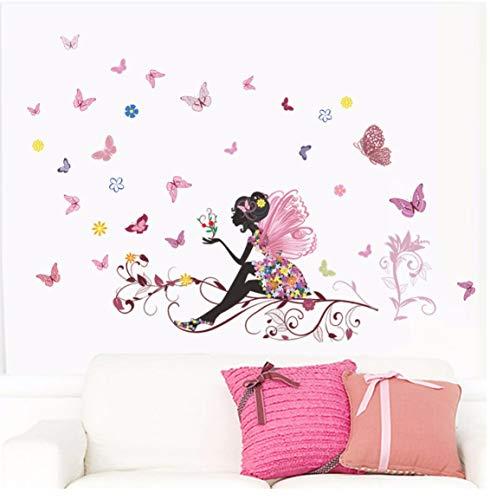 Blumenfee Wandaufkleber Mädchenzimmer Schlafzimmer Kindergarten Wohnkultur Aufkleber Diy Tapete Wandbild Eco Poster -