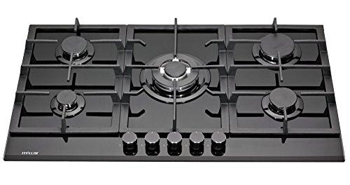 Millar GH9051TB Plaques de cuisson en Verre trempé avec 5 brûleurs à gaz Noir 90 cm/Table de Cuisson