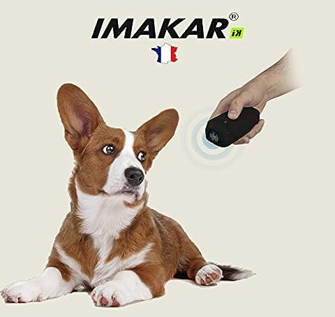 IMAKAR® Télécommande ultrason dressage chiens & chats, SANS COLLIER. Parfait pour les dresseurs qui préfèrent une éducation non-offensive & sans décharge éléctrique. Fonctionne avec une batterie 9V & fournit avec un manuel d'utilisation en Français.