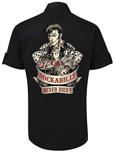 Rockabilly Worker-Hemd kurzarm, original GASOLINE BANDIT® Design: Rockabilly never dies! Schwarz