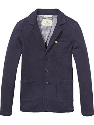 Scotch & Soda Shrunk Jungen Jacke Jersey Blazer, Blau (Night 002), 176 (Herstellergröße: 16) (Heavy Jersey Jacke)