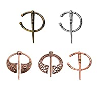 Ongwish 5 PCS Antique Viking Collar Brooch Pin, Celtic Spiral Clasp Buckle Retro Brooch Pin Gift