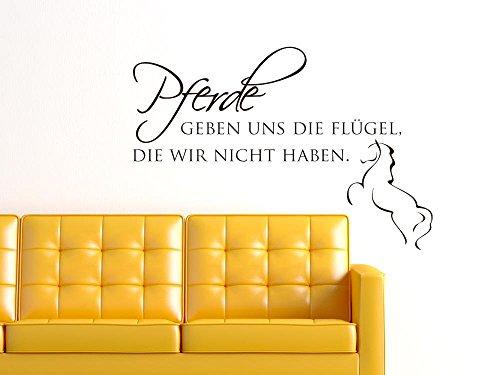 Graz Design 720240_57_070 Wandtattoo Wandspruch Pferde geben uns die Flügel... Wanddekoration für Kinderzimmer Jugendzimmer 84x57cm Schwarz