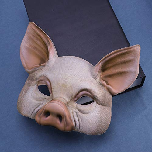 YeahiBaby Halbes Gesicht Tiermaske Schwein Maske für Party Festival Halloween Maskerade Phantasie Ball Cosplay (Pink)