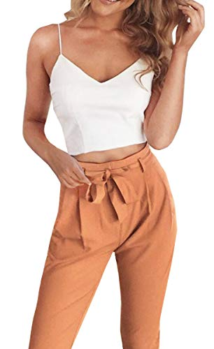 Fancyinn Damen 2 Stück Outfit Spaghetti Strap Crop Top Hose mit Gürtel S