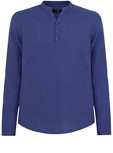 oodji Ultra Herren Leinenhemd ohne Kragen Blau (7800N)