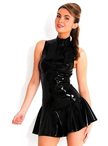 Boowhol Sexy Damen Lackleder Kleid Rock sexy Dessous Minikleid Clubwear rückenfrei Club Anzug Enge Kleidung Party-Kleidung (XXL)