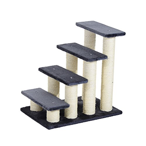 Pawhut Pet Stairs 4 Steps Dog Cat Little Older Animal Climb Ladder Navy Blue