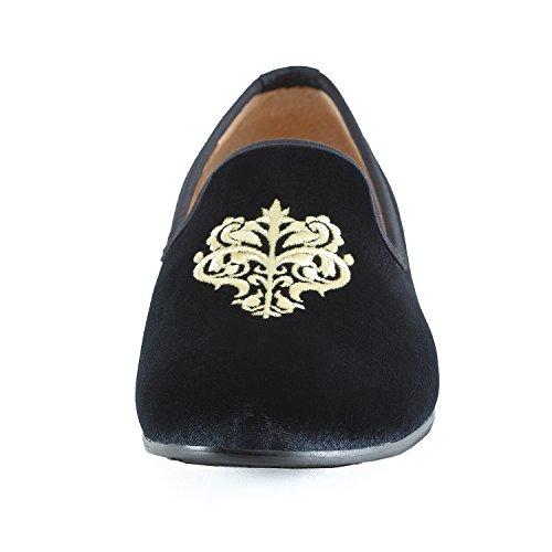 Veste en velours vintage Flâneur hommes broderie Noble Hommes Chaussures à enfiler Flâneur fumer Chaussons Noir/Bleu Schwarz Rebe