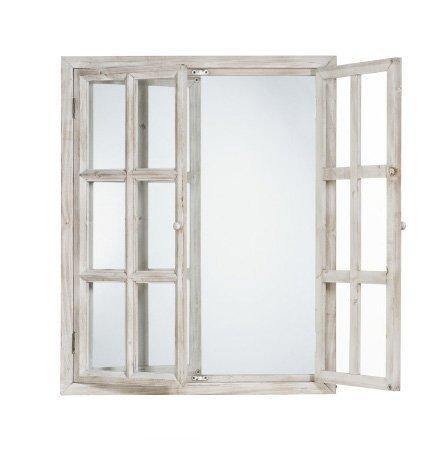 Specchiera bianca di legno con ante stile vintage L'ARTE DI NACCHI VZ-83