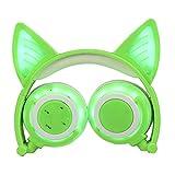 TIAN Verstellbare Universelle Kompatibilität Auf Ohrhörern LED-Kopf Montiert Leuchtend Faltbare Handy-Musik-Headset Für Kinder,Green