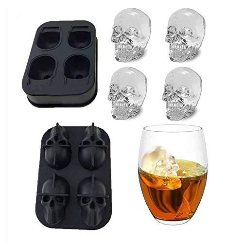 BWMY 3D Schädel Flexiblem Silikon Form Eiswürfelbehälter, Macht Vier Riesigen Schädel, Runde Ice Cube Maker