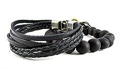 Streetsoul Multi Stranded Beaded Wrist Black Leather Bracelet Wrist Band For Men.