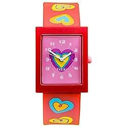 Tatiri Watch Red Analogue Hearts Time Wrist Children Plastic