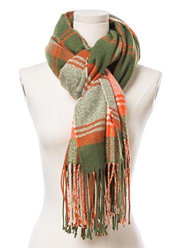 Drucken Seide Mütze (Ginalena Damen Schal grün grün)