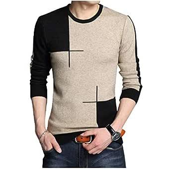 EYEBOGLER Regular Fit Men's Cotton T-Shirt (XS-T91-KMBL, Khaki Melange-Black,X-Small)