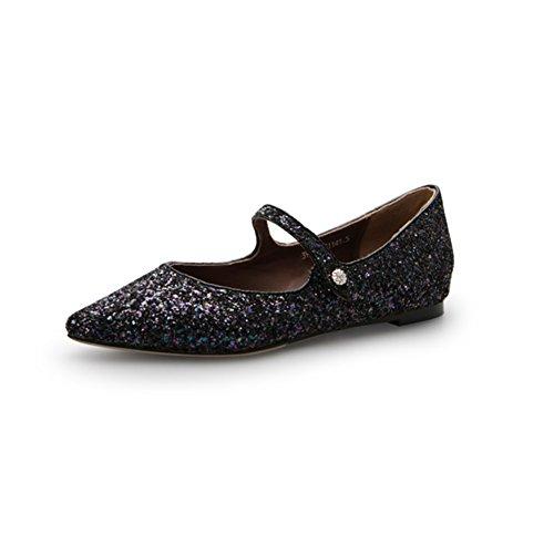 Avec une boucle chaussures fashion Lady/chaussures paillettes pointues A
