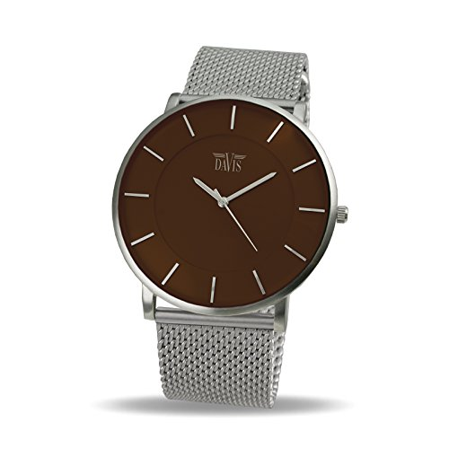 Davis 0916MB - Mens Womens Design Ultra Thin Watch Brown Dial Mesh Milanese Strap