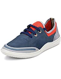 Peponi Men's Faux Leather Blue Stylish Sports Men's Faux Leather Casual Shoes