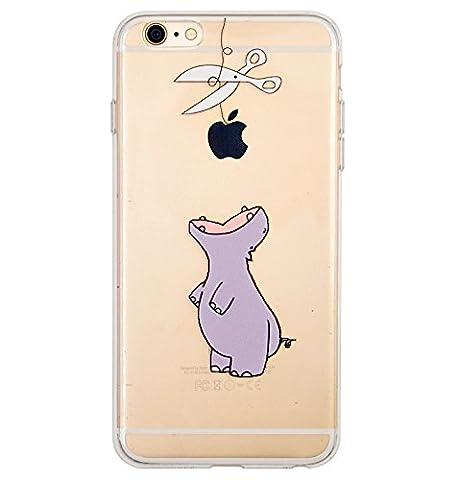 Coque iPhone 6 Plus, iPhone 6S Plus, OFFLY Transparente Souple Silicone TPU étui d' Protection, Cute et Motif Fantaisie pour Apple iPhone 6 Plus / 6S Plus - Hippopotame