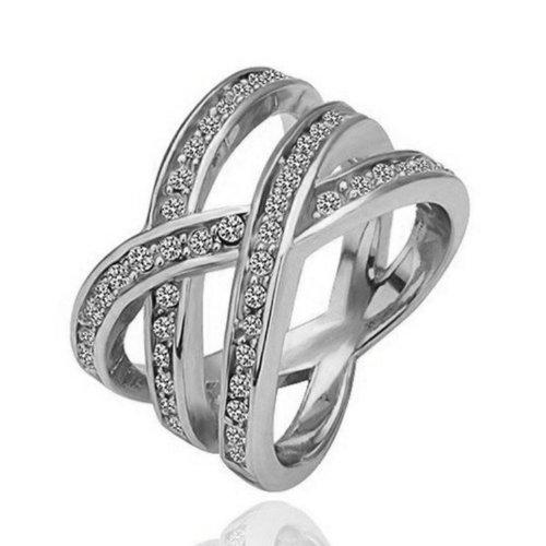 Yoursfs - Anillo Chapado en Oro/ Blanco anillo , Circonio Cúbico con cristal para las mujeres