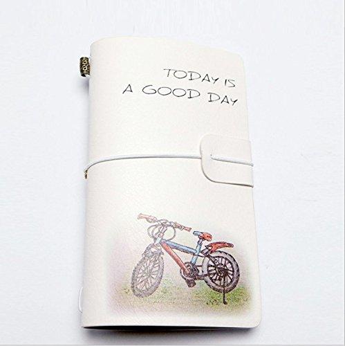 Kleine Tasche notebook-refill Travel Journal Geschenk für Männer oder Frauen, Reisende, Professionals, Tagebuch. Modische und frischen Style Größe 20,3x 11,9cm blanko fügt Bicycle pattern (Journal Kleines Notebook)