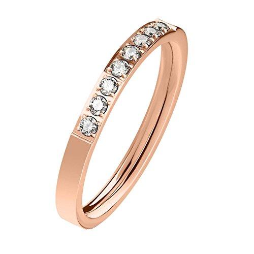 beyoutifulthings Zarter ZIRKONIA-Reihe Clear Band-Ring Finger-Ring Chirurgenstahl 316L Verlobungs-Ring Partner-Ring Trau-Ring Roségold 57(18.1)