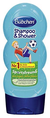 Bübchen Kids Shampoo & Duschgel Sportsfreund, Kinder-Shampoo & -duschgel, pH-hautneutrale Pflege für Kinderhaut, mit frischem Duft, Menge: 4x 230 ml
