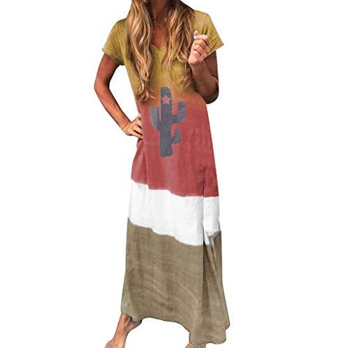 Wtouhe Femme Robe,2019 ÉTé Robe Manches Courtes pour Imprimé Coton Imprimé Taille Plus Short Taille Haute Gilet Vintage Womens Blouse Chemisier Femme Loose Chemises Basique Casual T Shirt Haut Robe