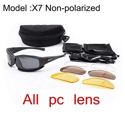 WLCLJJ Polarisierte c5 Armee Brille militär Sonnenbrille 4 Lens kit männer wüste Taktische Brille sportbrillen Radfahren Brille (Color : X7 no Polarized, Lenses Color : Multi)