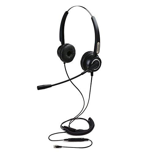 AGPTEK 4-Pin RJ9 Binaurales Telefon Headset mit Mikrofon 3.5MM QD Lautstärke für Call Center Call Center Telefon Webcams Computer Schwarz - Call-center-telefon