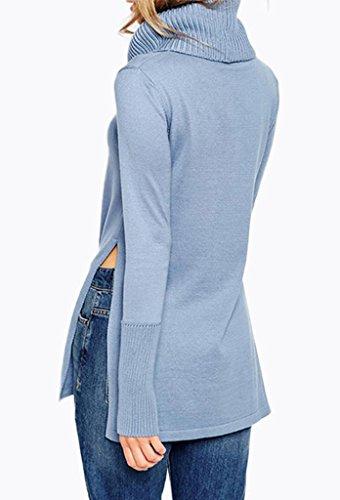 Bigood Femme Pulls Uni Tricot Tops Haute Col Sweat-shirt Chemise Slimmer Bleu