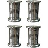 Fun n Shop Designer Round Sofa/Table Leg - Stainless Steel - 4 Inch - Pack of 4