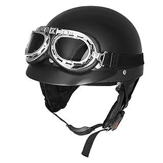 JenNiFer Retro Matt Schwarz Motorrad Half Face Helm Biker Scooter Mit Sun Visier Uv Brille Cafe Racer