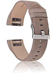 Charge 2 Bracelet, CAM-ULATA Remplacement Souple Réglable Bande en Véritable Cuir Sangle de Sport Bracelet pour Fitbit Charge 2 D'activité et de Suivi de la Fréquence Cardiaque, Gris