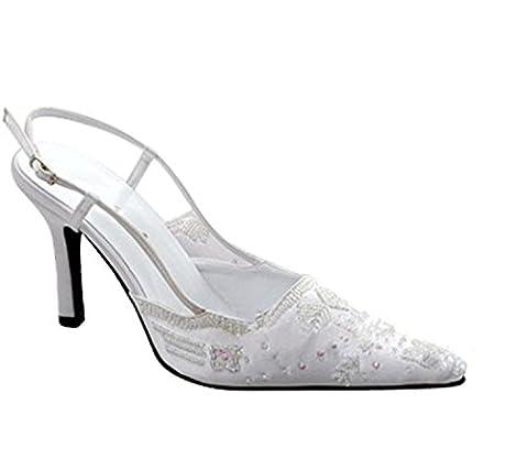 Kevin Fashion , Chaussures de mariage tendance femme - beige - blanc, 36.5